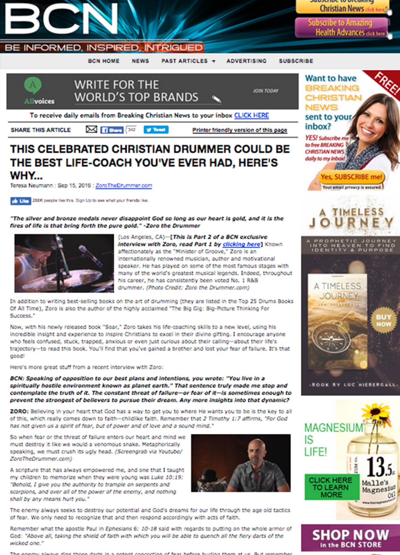Zoro Feature in Breaking Christian News